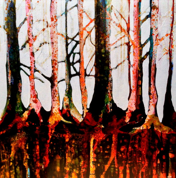 Trees are sanctuaries. Whoever knows how to speak to them, whoever knows how to listen to them, can learn the truth. They do not preach learning and precepts, they preach, undeterred by particulars, the ancient law of life. –Hermann Hesse, Baume, Betrachtungen und Gedichte 80X80CM Oil and dyes on hand stretched canvas
