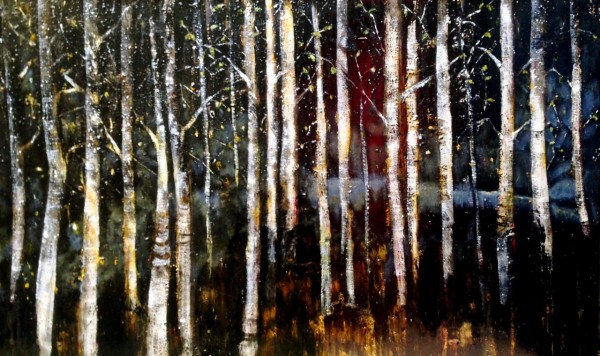 Trees are sanctuaries. Whoever knows how to speak to them, whoever knows how to listen to them, can learn the truth. They do not preach learning and precepts, they preach, undeterred by particulars, the ancient law of life. ― Hermann Hesse, Bäume. Betrachtungen und Gedichte Oil and dyes on hand stretched canvas 152x92cm